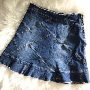 Denim patch work skirt